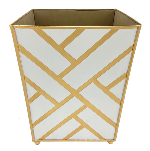 Newport White and Gold Wastebasket