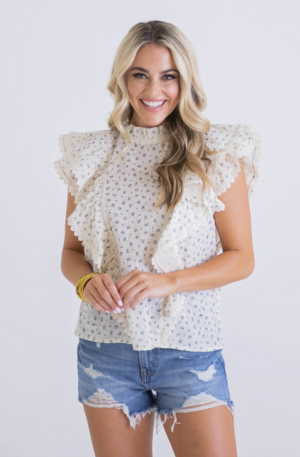 Jessi Floral Linen Ruffle Front Top