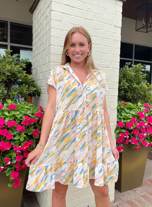 Abstract Button Dress