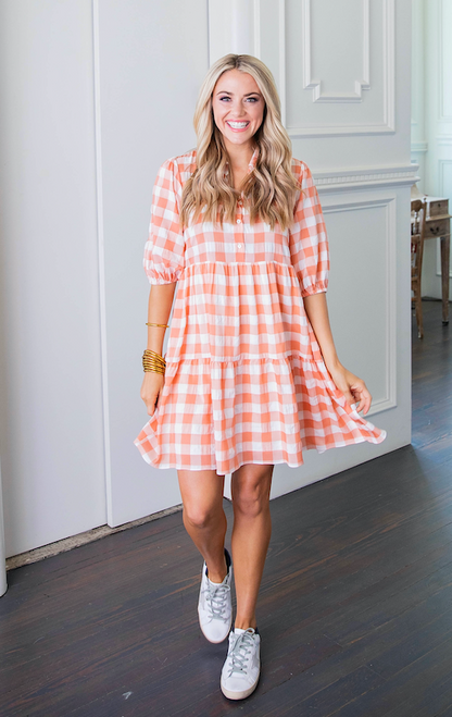 Check Baby Doll Tier Button Dress