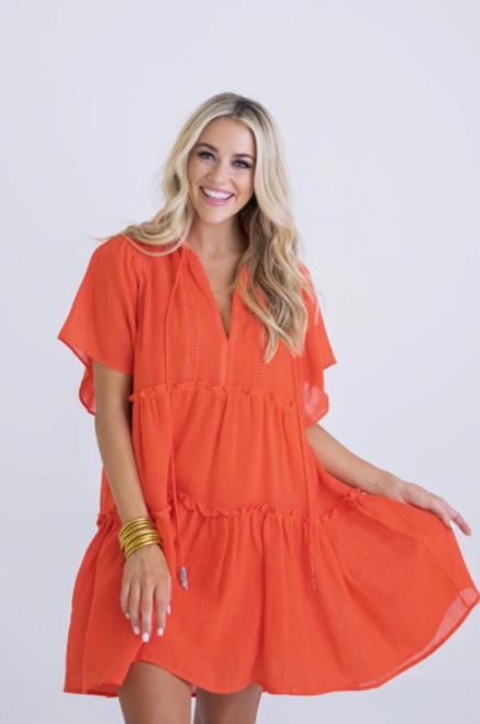 Cranberry Solid Gauze Tier Boho Dress