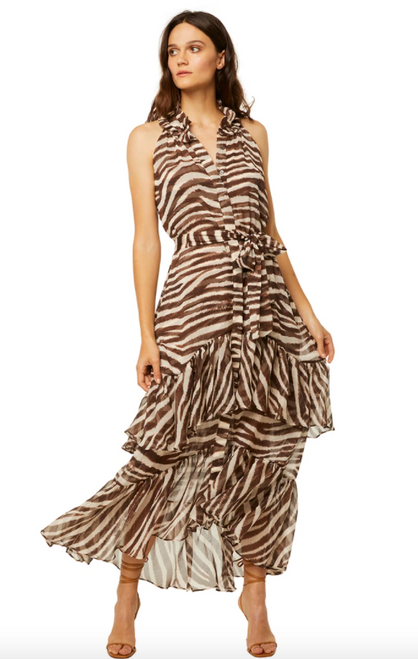 Amal Dress in Chocolate Zebra