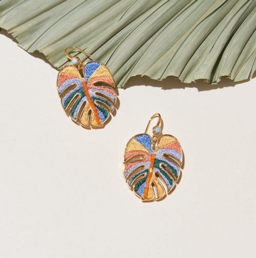 Mini Palmer Dangle Earring in Orange Multi