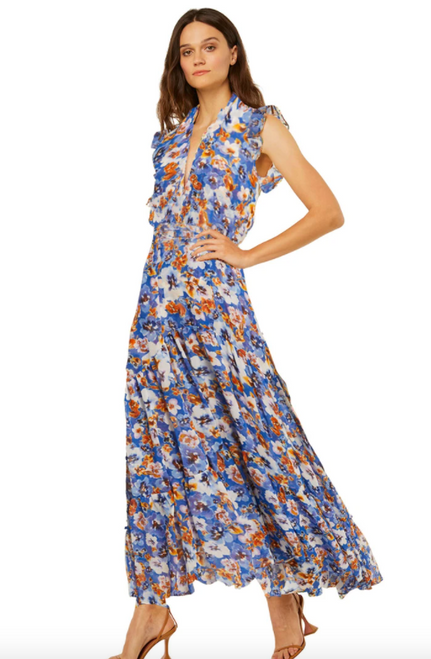 Trina Dress in Blue Pansy
