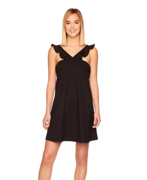 Black Ruffle Vstrap Dress