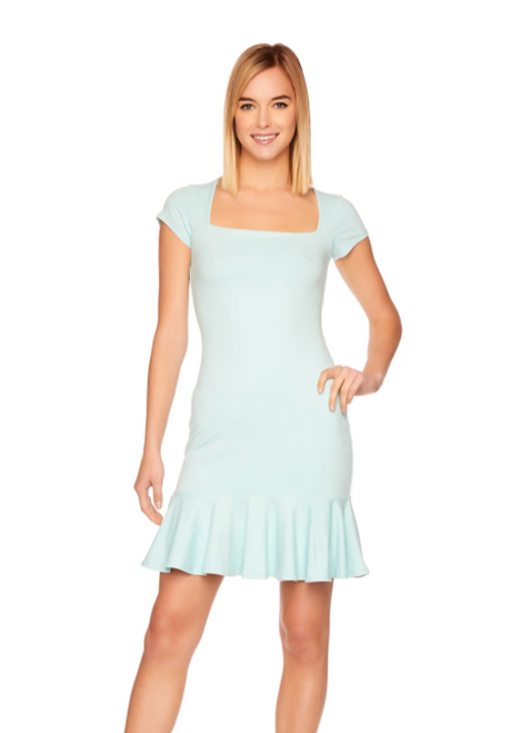 Square Neck Ruffle Bottom Dress in Blue