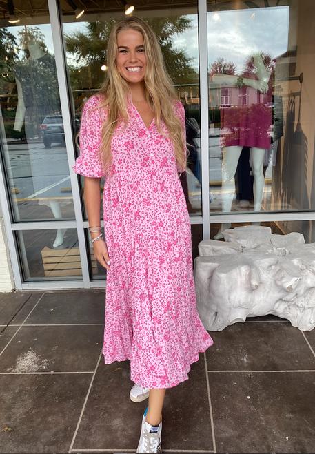 Pinks Floral Boho Tier  Puff Sleeve Midi