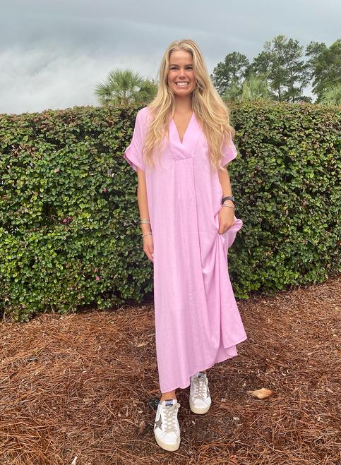Solid Pink Vneck Maxi Dress