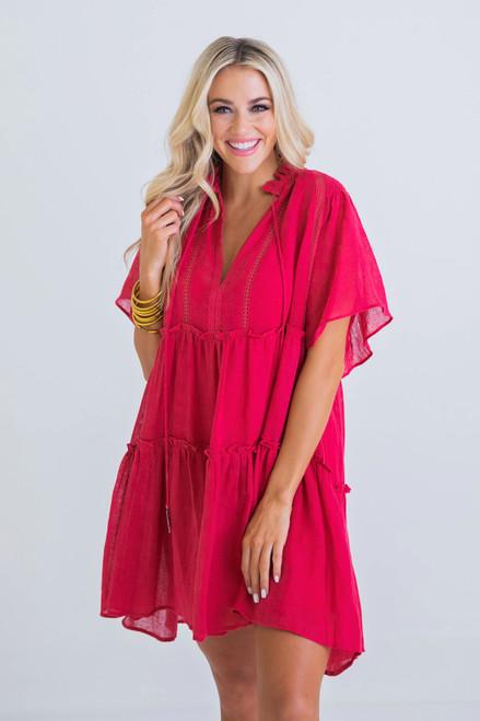 Berry Solid Gauze Tier Boho Dress