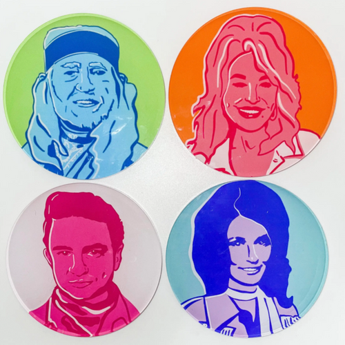 Country Legends 4 Pack of Coasters