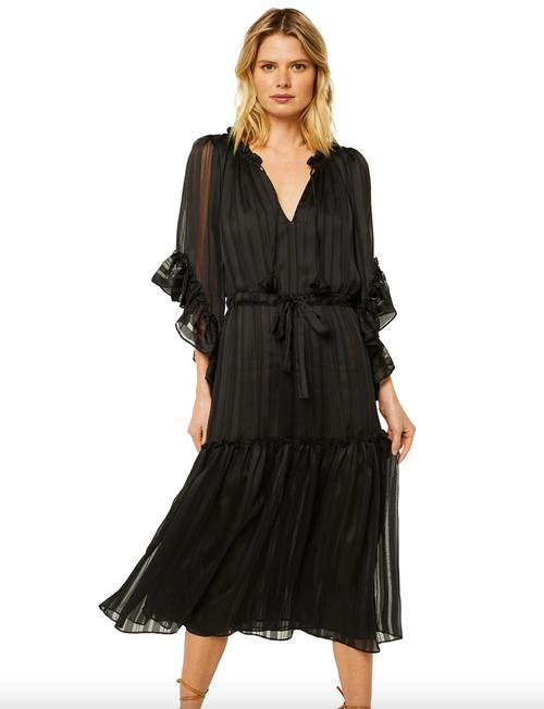 Marcele Dress in Black Solid Stripe