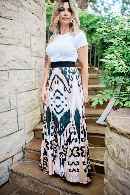 Allegra Skirt Tan Ikat