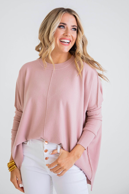 Solid Crew Neck Novelty Sweater in Blush