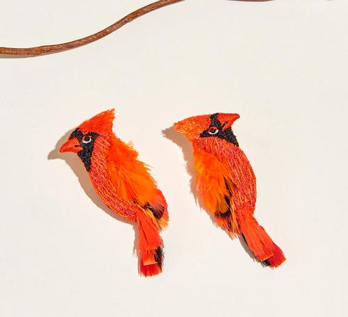 Cardinal Earrings in Red