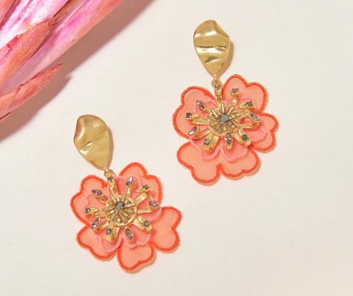Zinnia Drop Earring in Coral