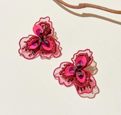 Poppy Stud Earrings in Red
