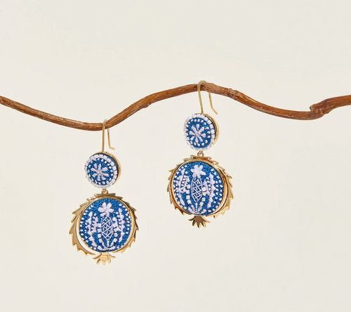 Pomegranate Earrings in Blue