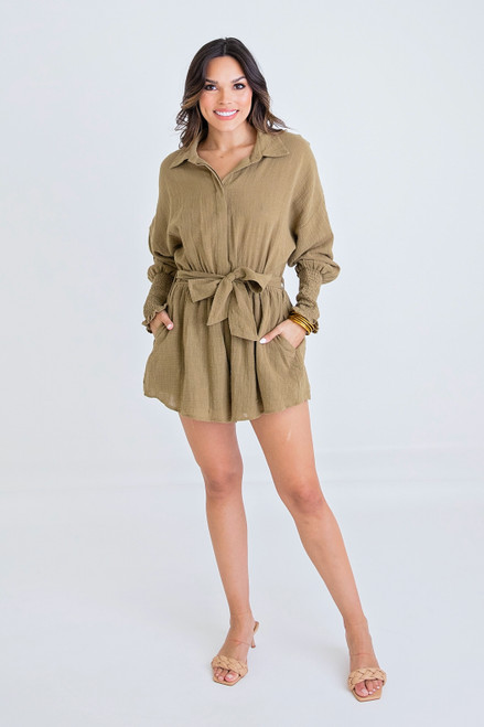 Olive Solid Button Up Tie Romper