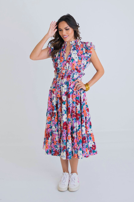 Milly Multi Floral Smock Waist Dress