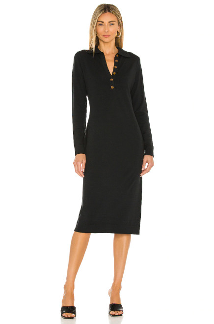 Midi Polo Dress Black
