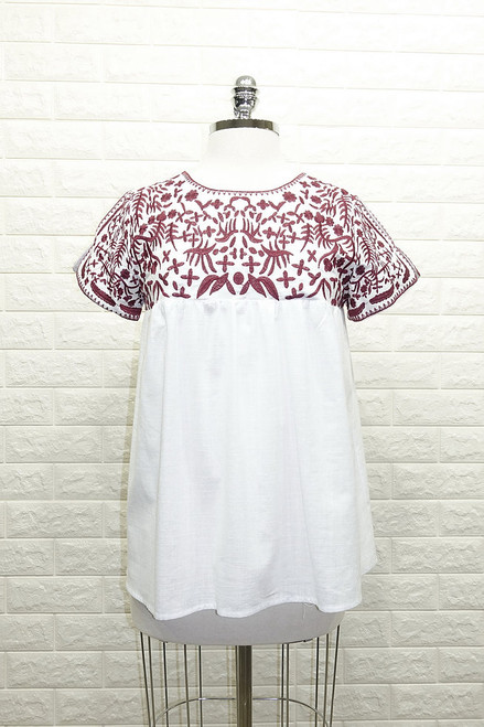 Embroidered Yoke & Sleeve Top
