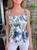 Mimi Blue Floral Print Ruffle Strap Top