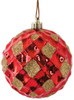 """J-180870 3"""" Reflective Red Grid Ball with Gold Glitter"""