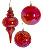 Red Iridescent Ball or Finial Ornaments   5 Inch or 6 Inch Ball or 10 Inch Finial