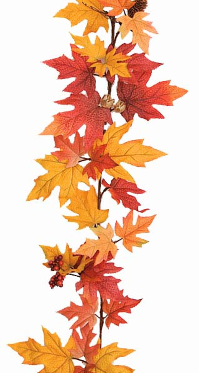 6 Foot Artificial Fall Maple Leaf Garland Autograph Foliages