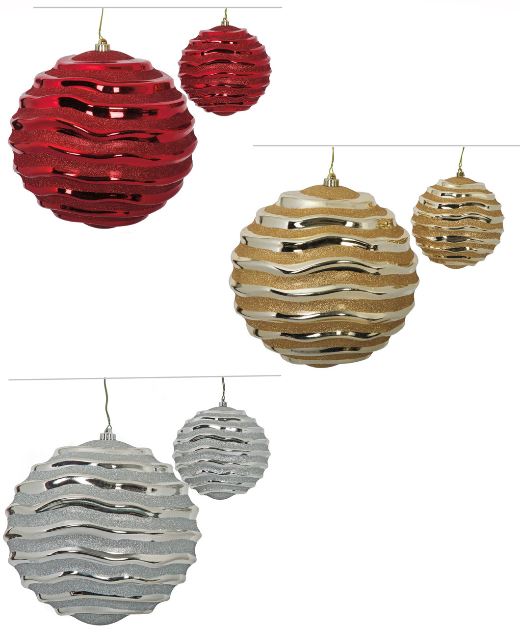 Reflective Swirl Ball Ornaments 6 And 12 Sizes In Red Gold Silver Autograph Foliages