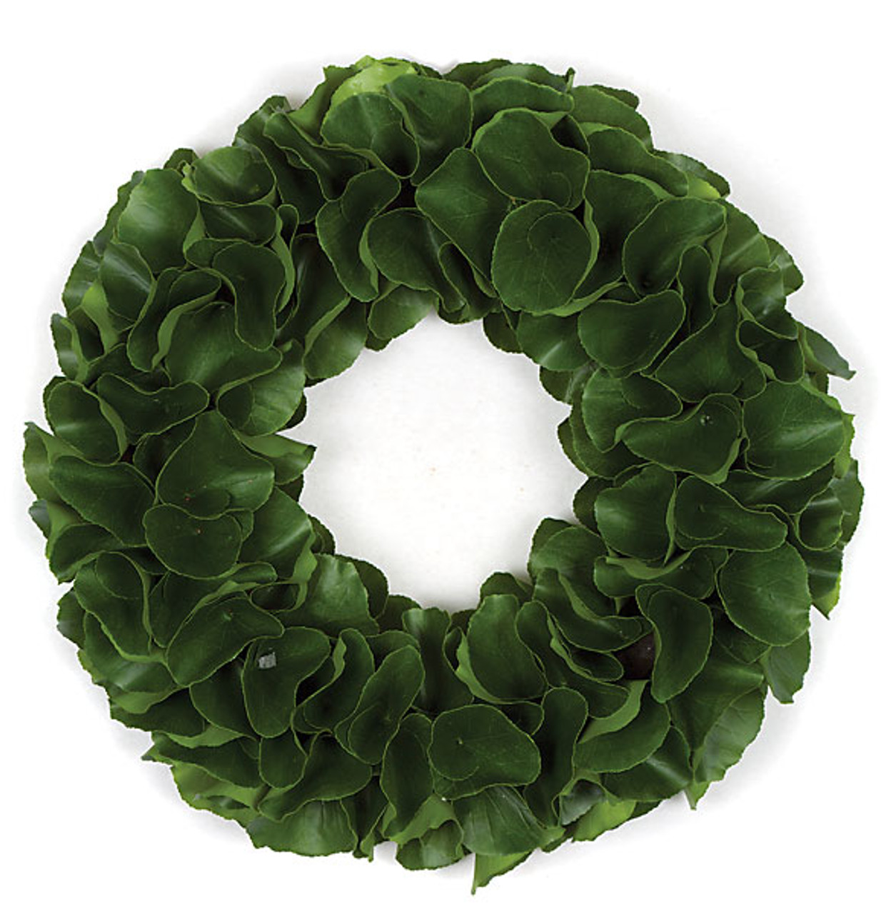20 Inch Artificial Green Leaf Wreath With Hard Foam Base Autograph Foliages
