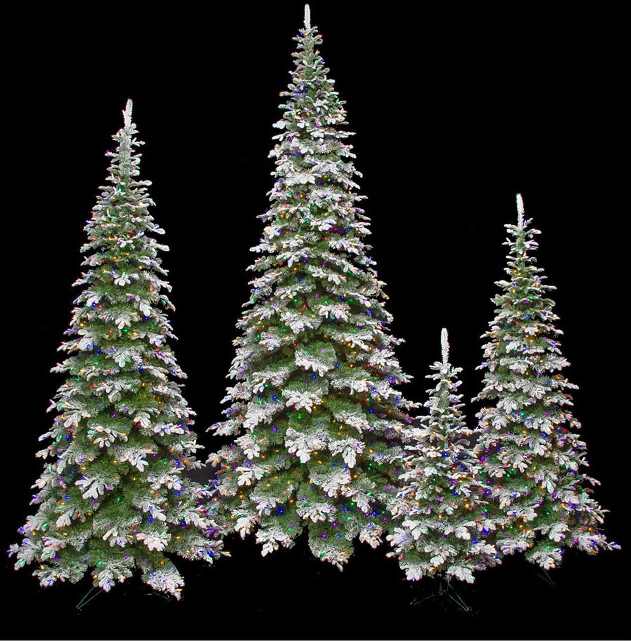 Artificial Flocked Sitka Spruce Pencil Size Christmas Trees With Led Lights Autograph Foliages