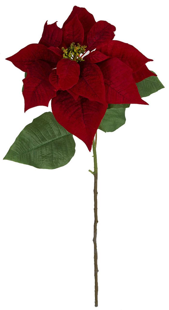 28 Artificial Red Velvet Poinsettia Wholesale Christmas Autograph Foliages