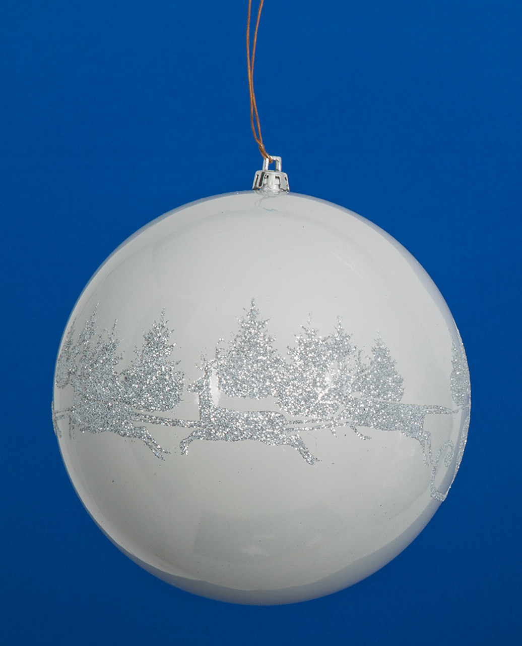 6 Shiny White Ball Ornament Silver Glitter Deer Pattern Autograph Foliages