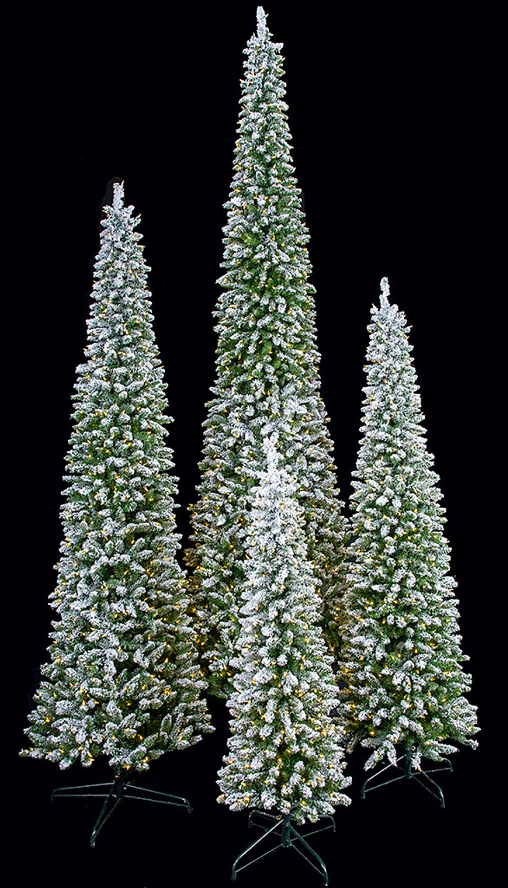 Flocked Beaumont Pencil Trees With Led Lights 5 Ft 7 5 Ft 9 Ft Or 12 Ft Autograph Foliages Autograph Foliages