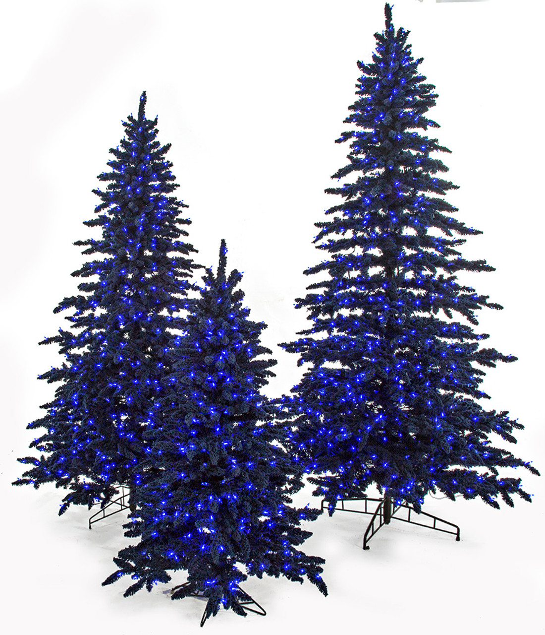 Flocked Navy Blue Marin Trees Blue Led Lights 5 7 5 And 9 Tall Autograph Foliages