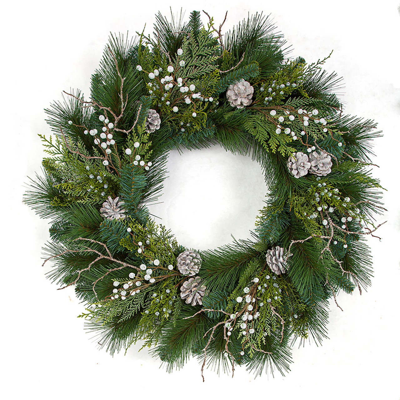 30 Mixed Pvc Alban Pine Wreath With White Berries Pine Cones Wholesale Premade Wreaths Autograph Foliages