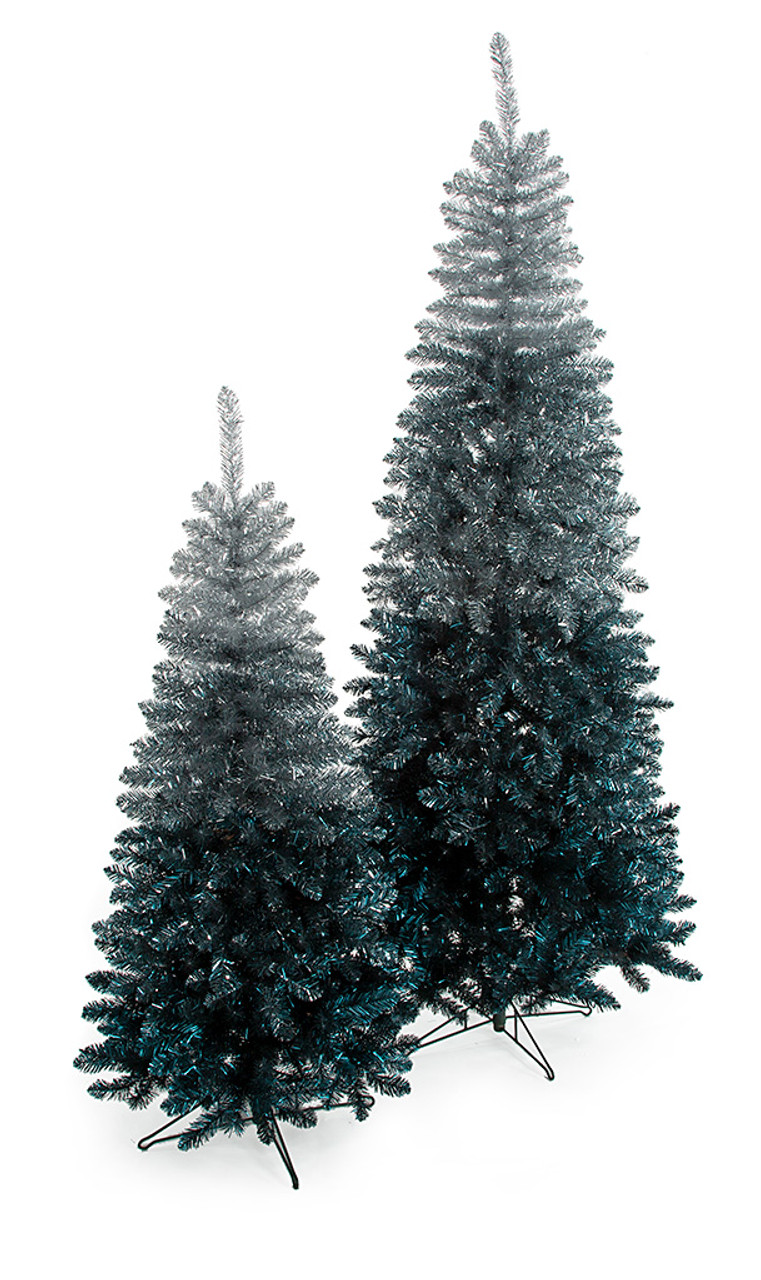 Silver To Blue Tinsel Ombre Trees Colorful Tinsel Christmas Trees Wholesale Autograph Foliages