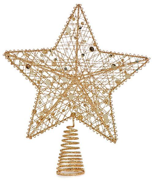 "12"" Glittered Gold Star Tree Topper"