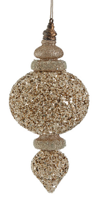 9 Inch Glittered/Beaded Finial - Champagne