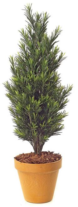 3 Foot Podocarpus Bush Synthetic trunk Tutone GreenDecorative Pot Sold Separately