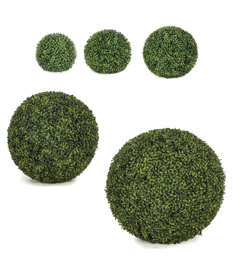 """Polyblend Outdoor Boxwood Balls Traditional Leaf 10"""", 12"""", 15"""", 20"""" or 24"""" Sizes"""