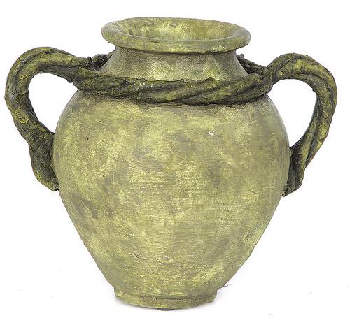 D-17409.5 Inch Vase with Vine Handles 3.5 Inch Inside Diameter Tutone Green