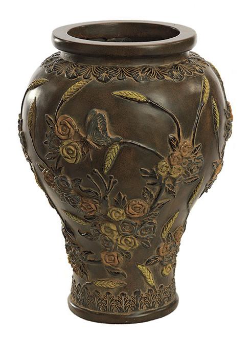 16.25 Inch Fiberglass Butterfly Vase 6.25 Inch Inside DiameterBrown/Mull
