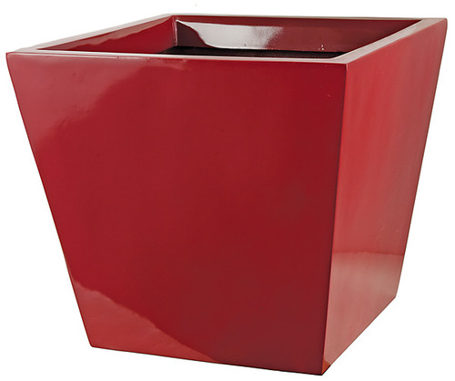 "D-13048316"" Fiberglass Square PlanterGloss Red"