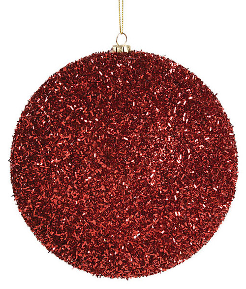 "6"" Red Tinsel Ball"