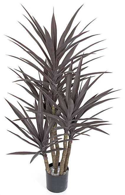 "53"" Plastic UV Rated Yucca Tree - Burgundy Color - Weighted Base"