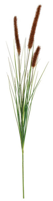 """34"""" Cattail Stem with PVC Onion Grass - Brown/Green"""