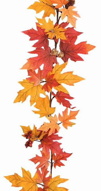 P-100220 6' Maple Leaves Garland Red/Orange