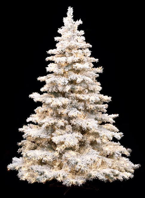"""7.5' Flocked Glitter Pine800 Warm White LED Lights64"""" Width"""